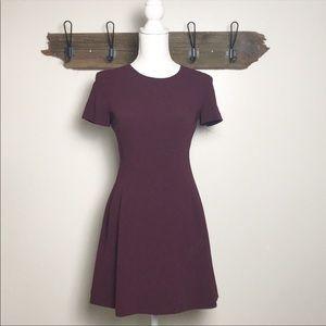Theory Dress Corset Tee Short Sleeve Burgundy EUC